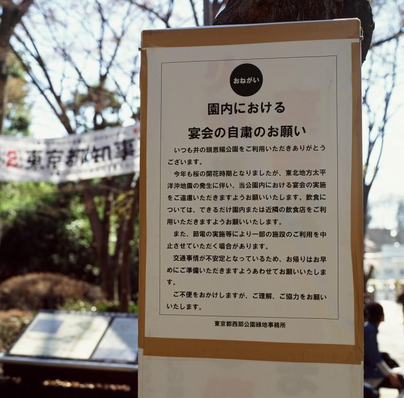 119 井の頭公園「園内における宴会の自粛のお願い」20110405(11.15.06)